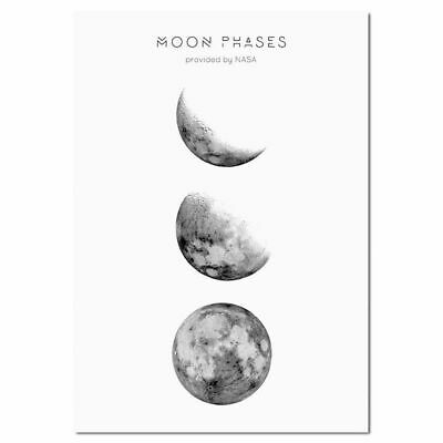Moon Phases Abstract Nordic Art Silk Poster 12x18 24x36