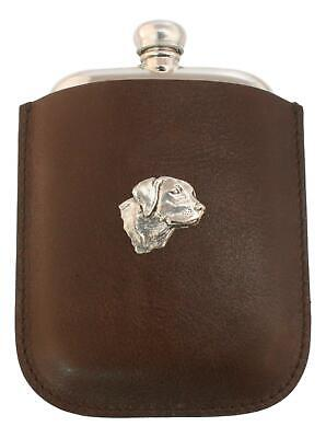 Labrador Head Pewter 4oz Traditional Hip Flask In Leather Pouch FREE ENGRAVING