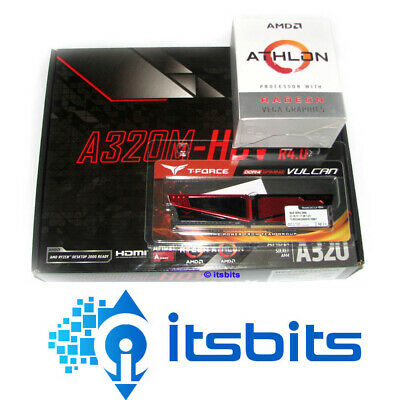 Asrock A320M-Hdv R4.0 + Amd Am4 Athlon 200Ge Dual Core Cpu 8Gb Ddr4 Ram Upgrade