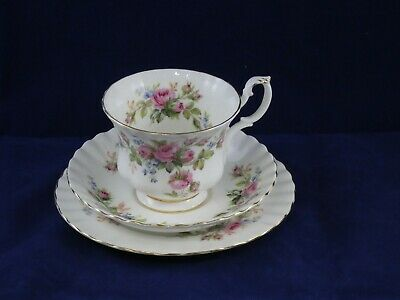 Royal Albert Bone China Moss Rose Trio Cup Saucer Side Plate