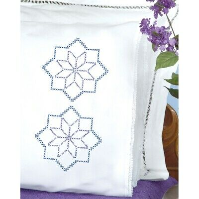Jack Dempsey Stamped Pillowcases W/white Lace Edge 2/pkg-xx Star