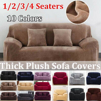 4 Seaters Sofa Covers Thick Plush Recliner Retro Recliner Soft Couch Slipcover