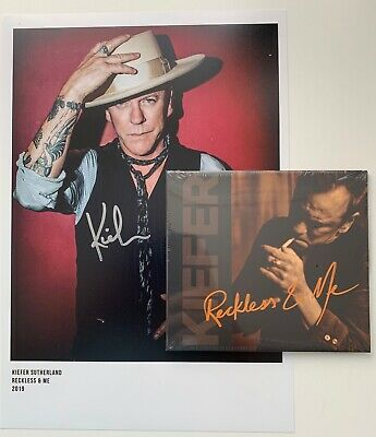 """KIEFER SUTHERLAND RECKLESS & ME CD WITH HAND SIGNED AUTOGRAPHED 12"""" x 8"""" PRINT"""