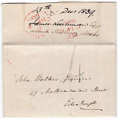 # 1839 DEC 13th GLASGOW HANDSTRUCK 4 JAMES LEECHMAN LETTER RE RAILWAY STOCKS