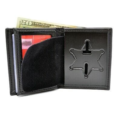 EMT EMS Silver Mini Badge Leather Bi-Fold Men/'s Shield Wallet PF104 Black