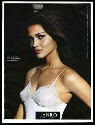 2001 Hanro of Switzerland lingerie woman in white slip color photo vintage ad