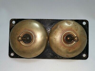 Vintage Double Electric Switches Brass Crabtree British Made Collectibles