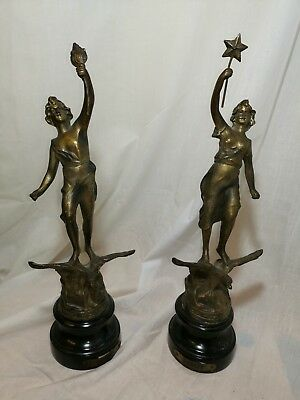 PAIR OF VINTAGE ASCO CAST METAL FIGURINES Le Jour / Le Nuit Day Night statues