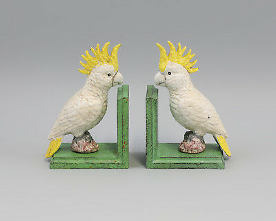 9973144-ds Iron Sculpture Figure Book Support Cockatoo Colourful 8x11x17cm