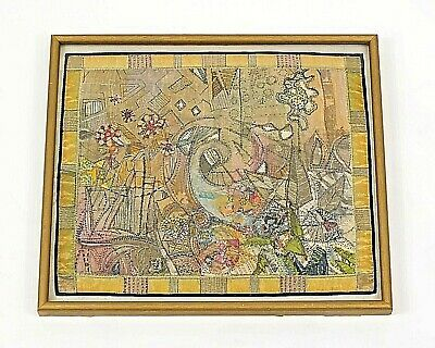 Vintage Mid Century Tapestry - OOAK Wall Hanging Retro Cool Framed Arts & Craft