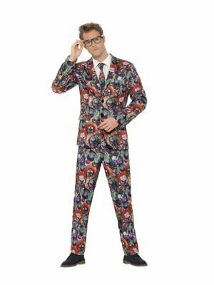 Smiffy's Stand Out Evil Killer Clown Halloween Suit Adult Costume Mens MD-XL