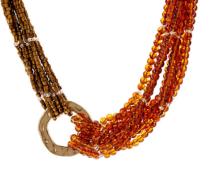 Susan Graver Bronze/Orange Multi-Layered Beaded Necklace QVC $45