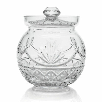 "Waterford Crystal Newgrange 7"" Fan Cut Biscuit Barrel w/ Lid"
