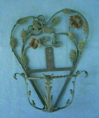 Vintage Antique Ornate Wrought Iron Wall mount  plant pot Holder leaves Flowers