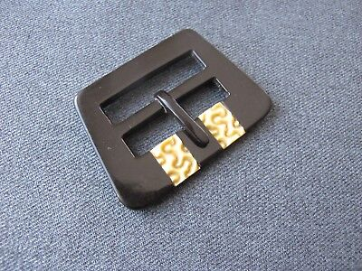 Antique Czech flapper carved black inlaid creamy galalith belt buckle unused 49i