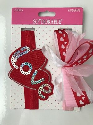 Baby Girl headband Headwraps Red Heart So Dorable Ribbon bow Valentine's Day