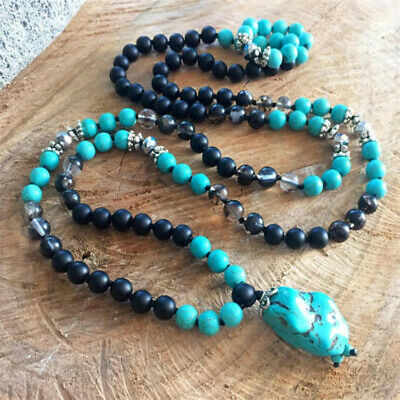 8MM 108 Turquoise Black Agate Necklace Fancy Healing Colorful energy pray Reiki