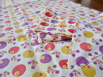 """CUTE Homemade 34"""" Square Print Card Table Childs Tablecloth 4 Matching Napkins"""