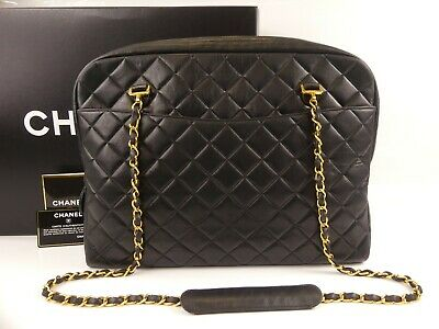 abaaea6a9c39 r1251 Auth CHANEL Black Quilted Lambskin CC Charm Chain Large Shopper Tote  Bag