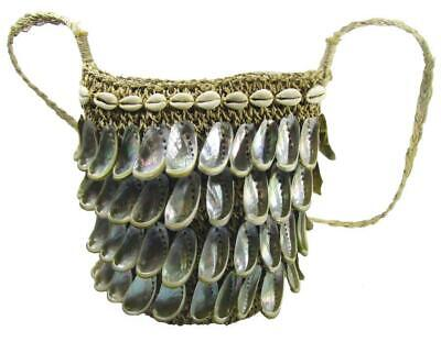 Pacific Mother of Pearl Shell Shoulder Hand Bag Woven Grass