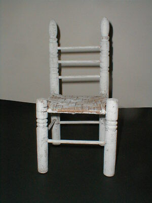 Toy Doll Size White Washed Ladder Back Wood Chair w Woven Seat