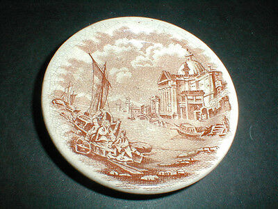 2 Antique Victorian  Staffordshire English Transfer Brown Butter Pat 1880s