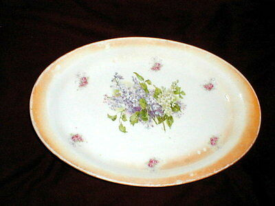 "Homer Laughlin China Empress White Purple Lilac 14"" Oval Platter 1914"