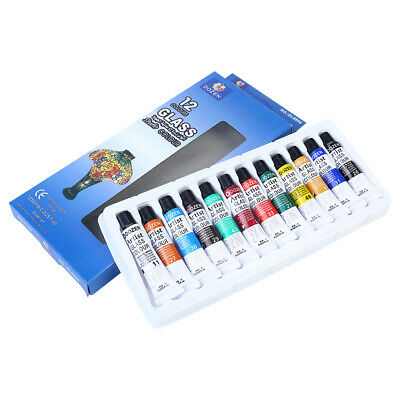 12pce Artist Glass Paint Colour Quality Artist Paint Set 6ml Tubes