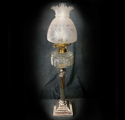 FINE VERY LARGE 19th. CENTURY CORINTHIAN COLUMN OIL LAMP in EXCELLENT CONDITION