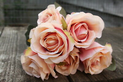 7 x PEACH / SHADED APRICOT SILK ROSES 7cm TIED BUNCH / SMALL BOUQUET