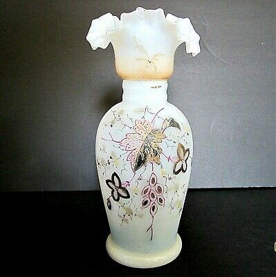 ANTIQUE BRISTOL GLASS VASE hand painted FLORAL w/embellishments c.1850-90