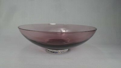 Huge Vintage Purple Glass Caithness Fruit Bowl Trinket Dish Art Piece