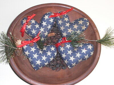 4 Primitive Blue July 4 Americana w/Stars Heart Bowl Fillers Ornies Ornaments