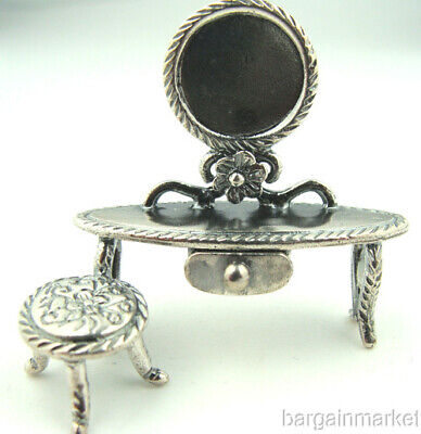 Miniature Sterling Silver Dollhouse Dressing Room Vanity #057