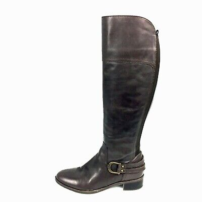 e8315f0fa2b AUDREY BROOKE LEATHER Tall Boots 7.5M Brown Buckles Riding Calf High ...