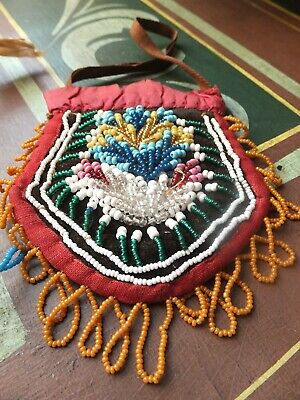Antique 19th Century beaded silk pouch purse, possibly Native American Indian