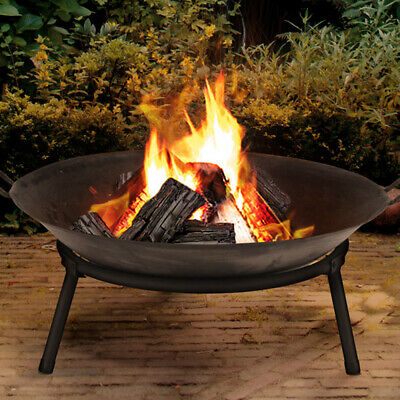 50cm Cast Iron Fire Bowl Classic Log Fire Pit Outdoor Heating Camp Site Barbecue