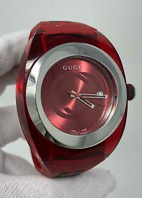 481e66fb234 Gucci Sync XXL Red Dial Silver Tone Red Rubber 46MM Unisex Watch YA137103  SD9