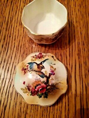 Antique Blushware Hand Painted China Lidded Trinket Pot With Bird Design