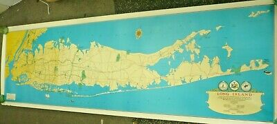 "HAGSTROM MAP OF LONG ISLAND NY 1972-1973 70"" x 22"" LI PARK COMMISSION A BEAUTY"