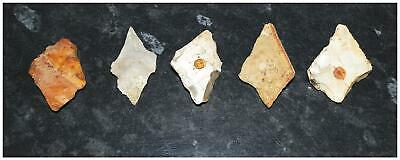 PREHISTORIC early NEOLITHIC 5 flint kite arrowheads Spears 3800-3000 bc British