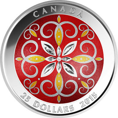 2015 Rcm Christmas Ornament Colorized $25 Fine Silver Coin.