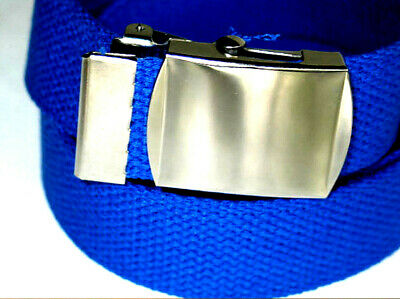 """ROYAL BLUE 56"""" Canvas Military Style Web Belt SILVER BUCKLE 1 1/4""""inch Wide"""
