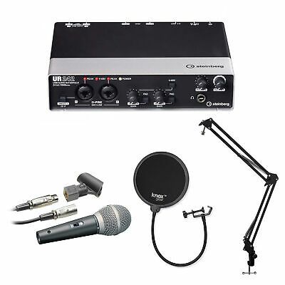 Steinberg UR242 4-Channel USB Interface with Microphone, Stand and Pop Filter