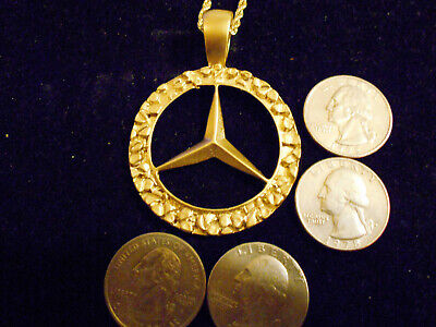 bling gold plated mercedes benz auto car pendant charm hip hop necklace jewelry