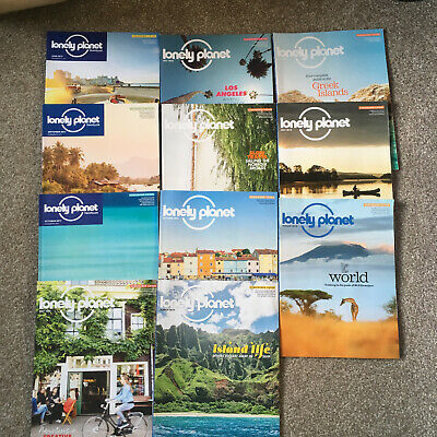 Lonely Planet magazines with subscriber covers x 12, including current edition