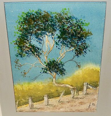 June Tree And Fence Original Painting