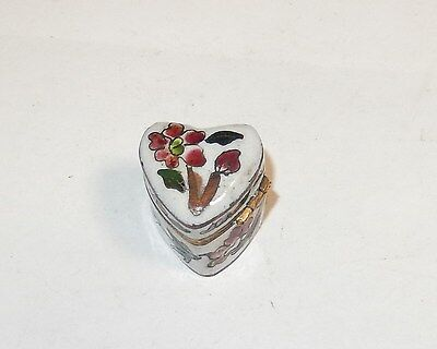 Chinese Cloisonne Enamel Heart Shape Pill Box