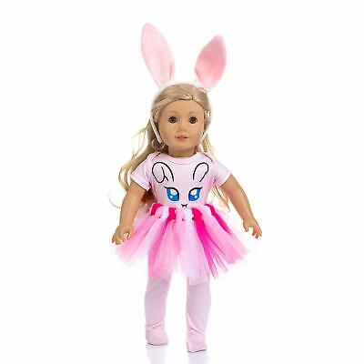 4 Pcs Cute Bunny Doll Clothes + Hair Accessories for American 18 Inch Girl Dolls