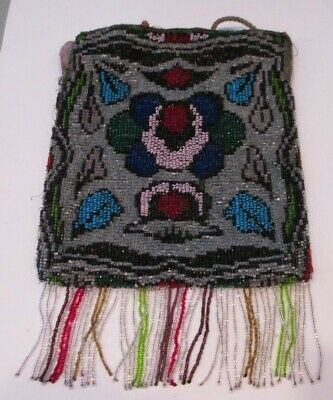 Antique Vintage Beaded Bag Purse Draw String Closure~Silver,Blue,Red Glass Beads